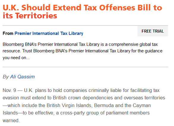Bloomberg BNA - UK should Extend Tax Offenses Bill to its Territories